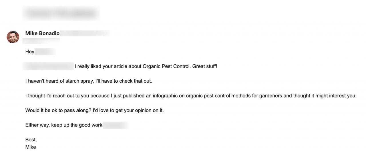 Пример e-mail от Mike Bonadio