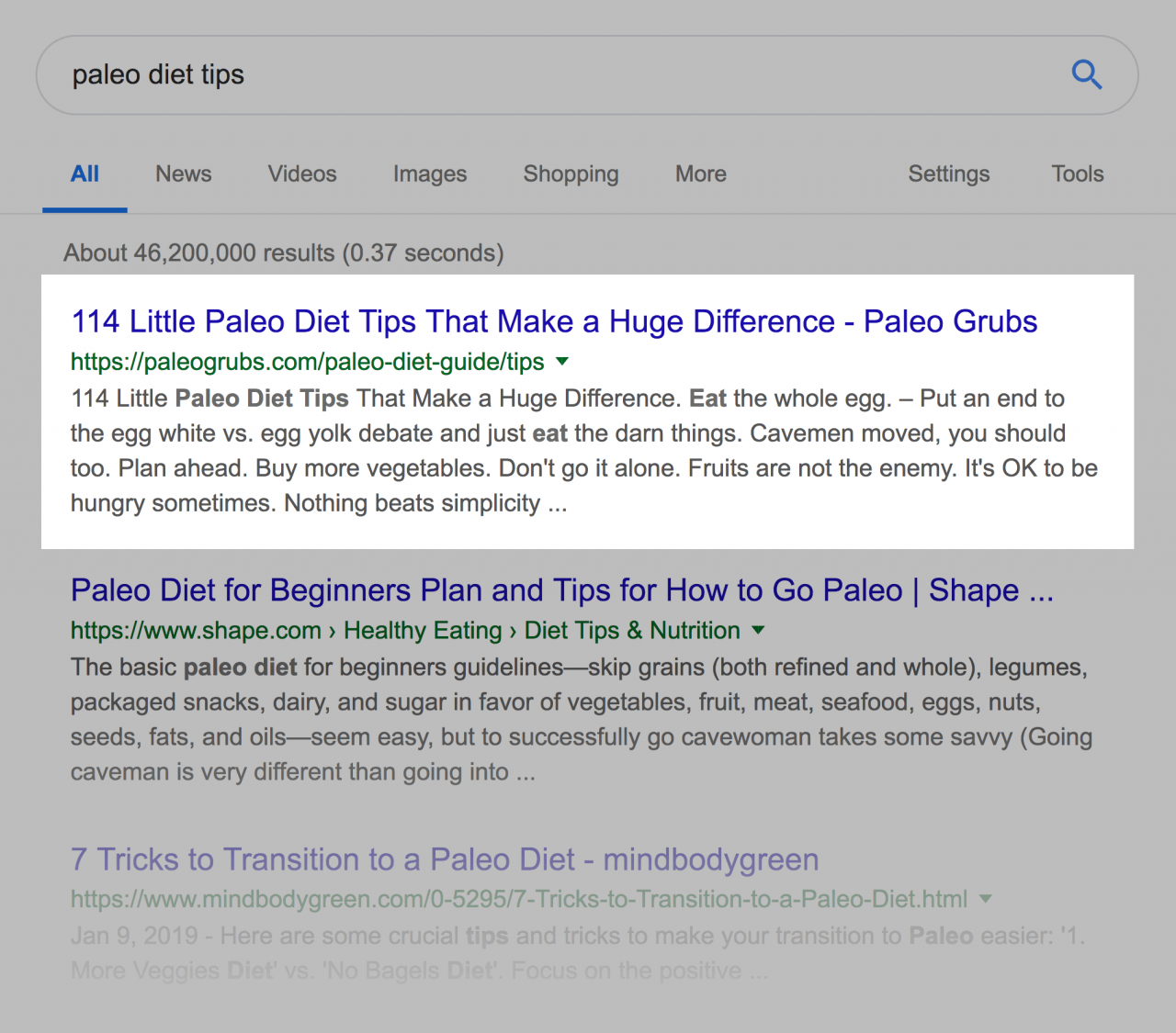"""""""paleo diet tips"""" SERP"""